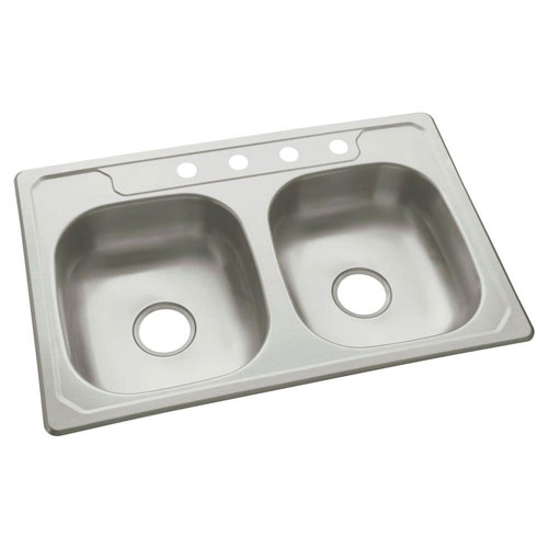 Sterling Middleton Top Mount Stainless Steel 33 inch 4-Hole Double Bowl Kitchen Sink 663891