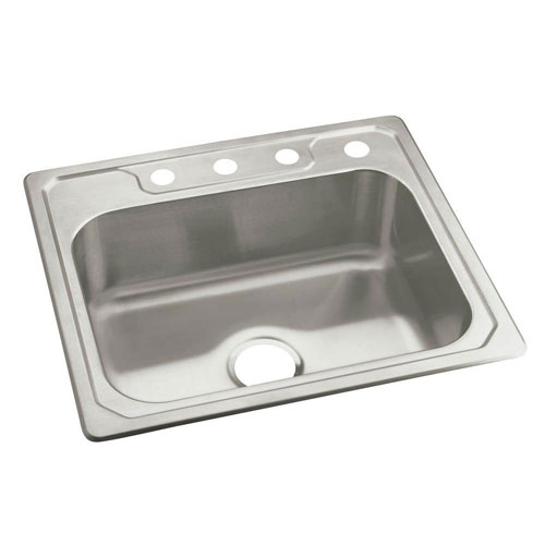 Sterling Banner Drop-In Stainless Steel 25 inch 4-Hole Single Bowl Kitchen Sink 663892