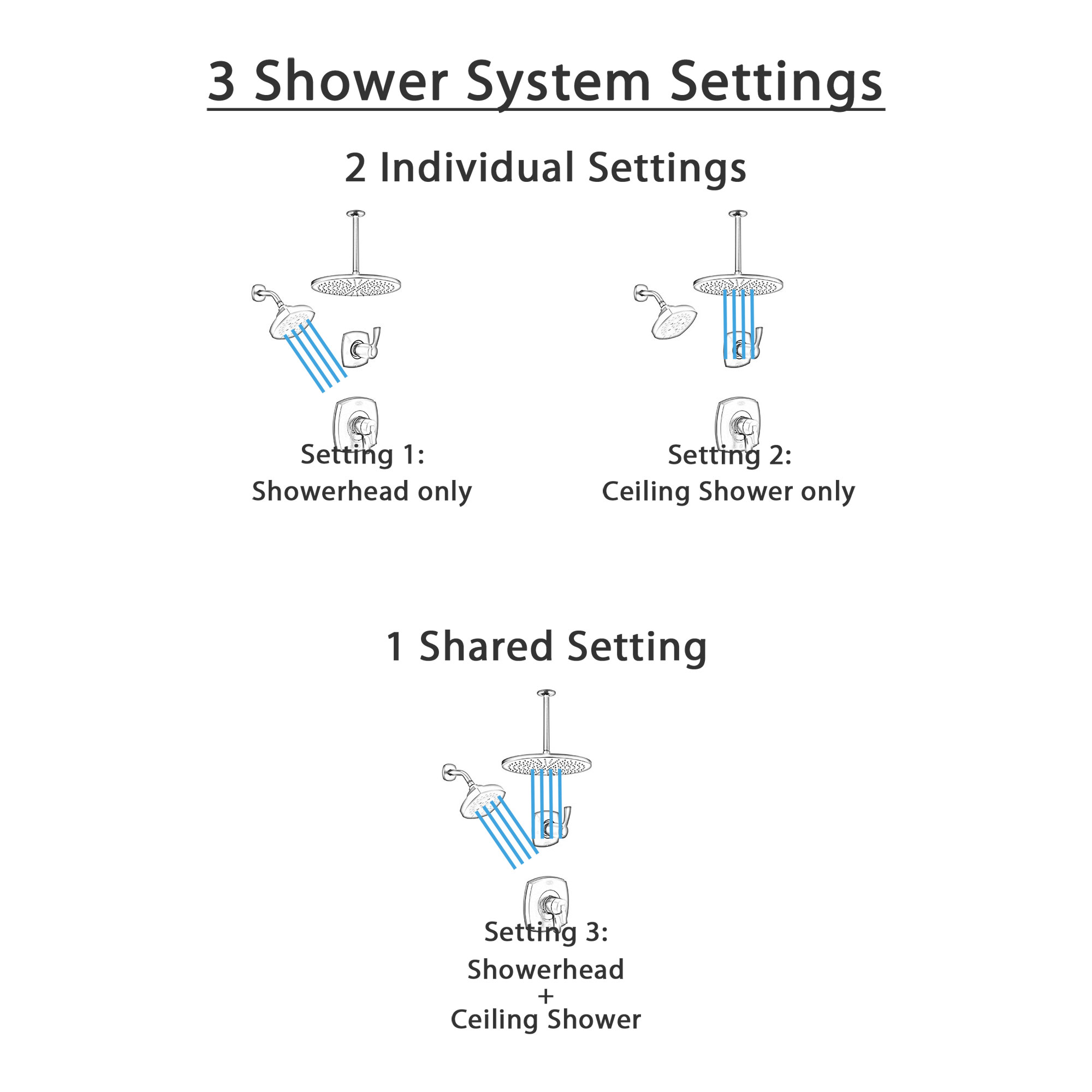 Delta Stryke Matte Black Finish 2 Control Shower System with Large Round Ceiling Mount Rain Showerhead and Multi-Setting Wall Showerhead SS172763BL1