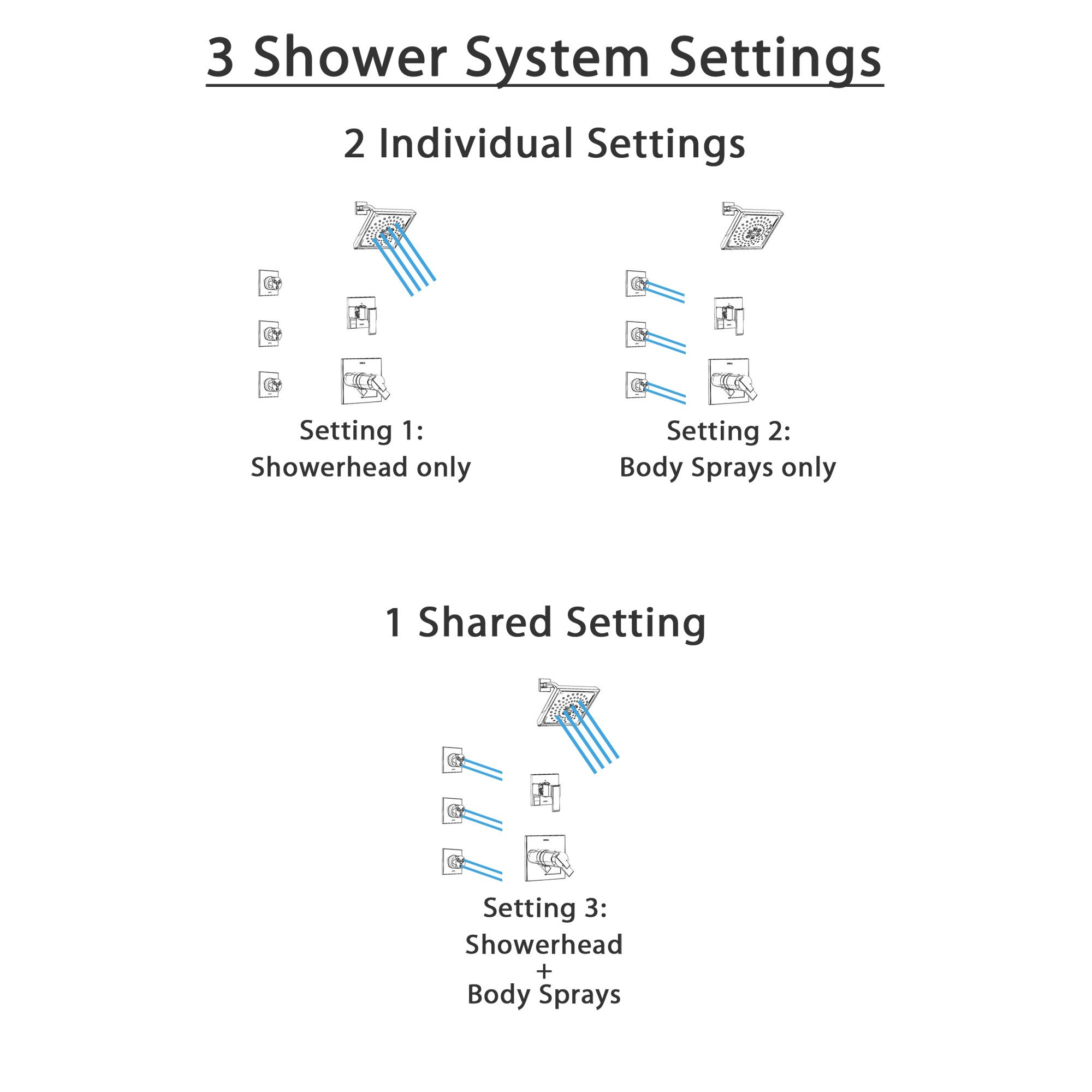 Function Illustration Graphic for Shower Systems with Body Sprays and Showerhead