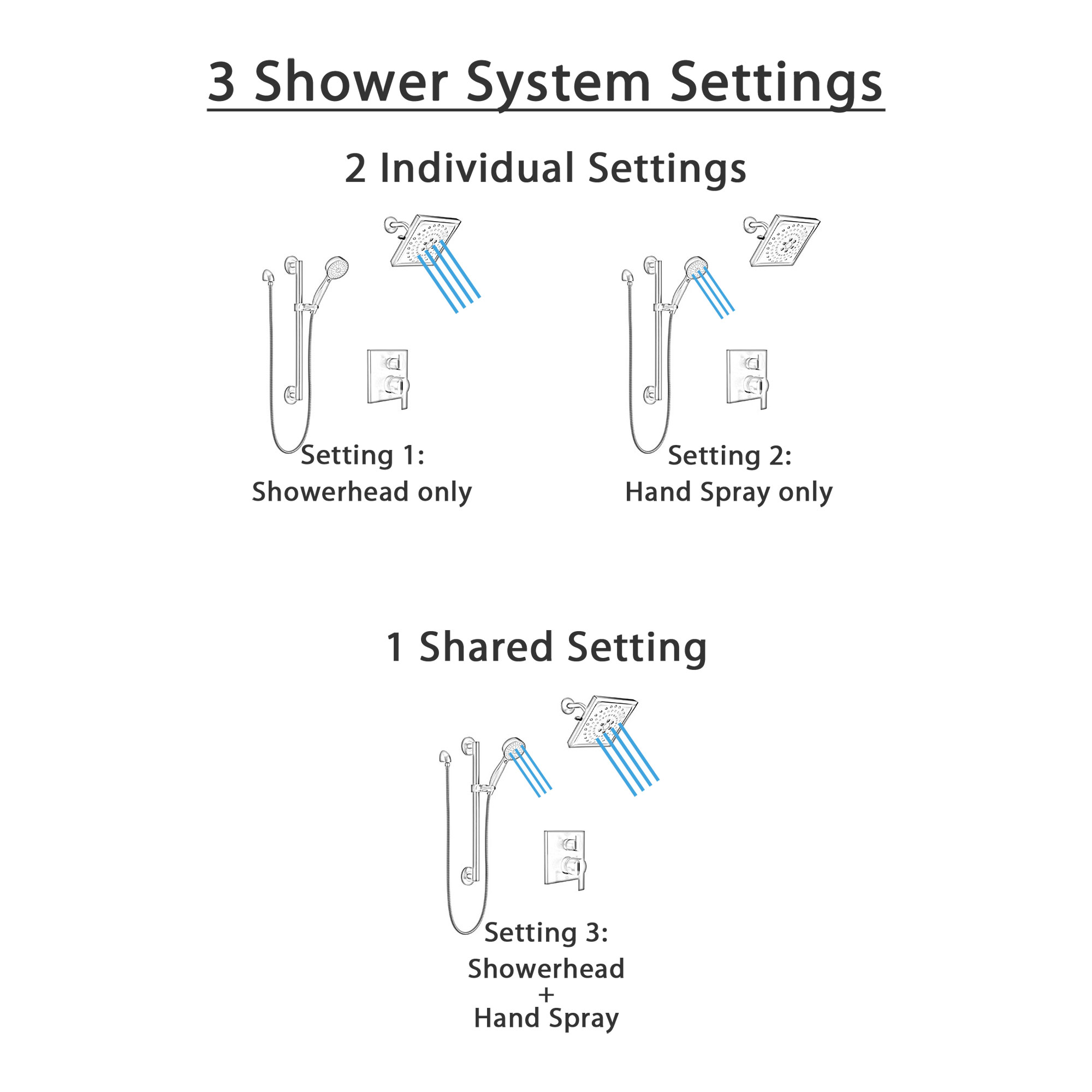 Delta Ara Matte Black Finish Shower System with Diverter Integrated, Wall Mounted Multi-Setting Showerhead, and Hand Shower with Grab Bar SS24867BL5