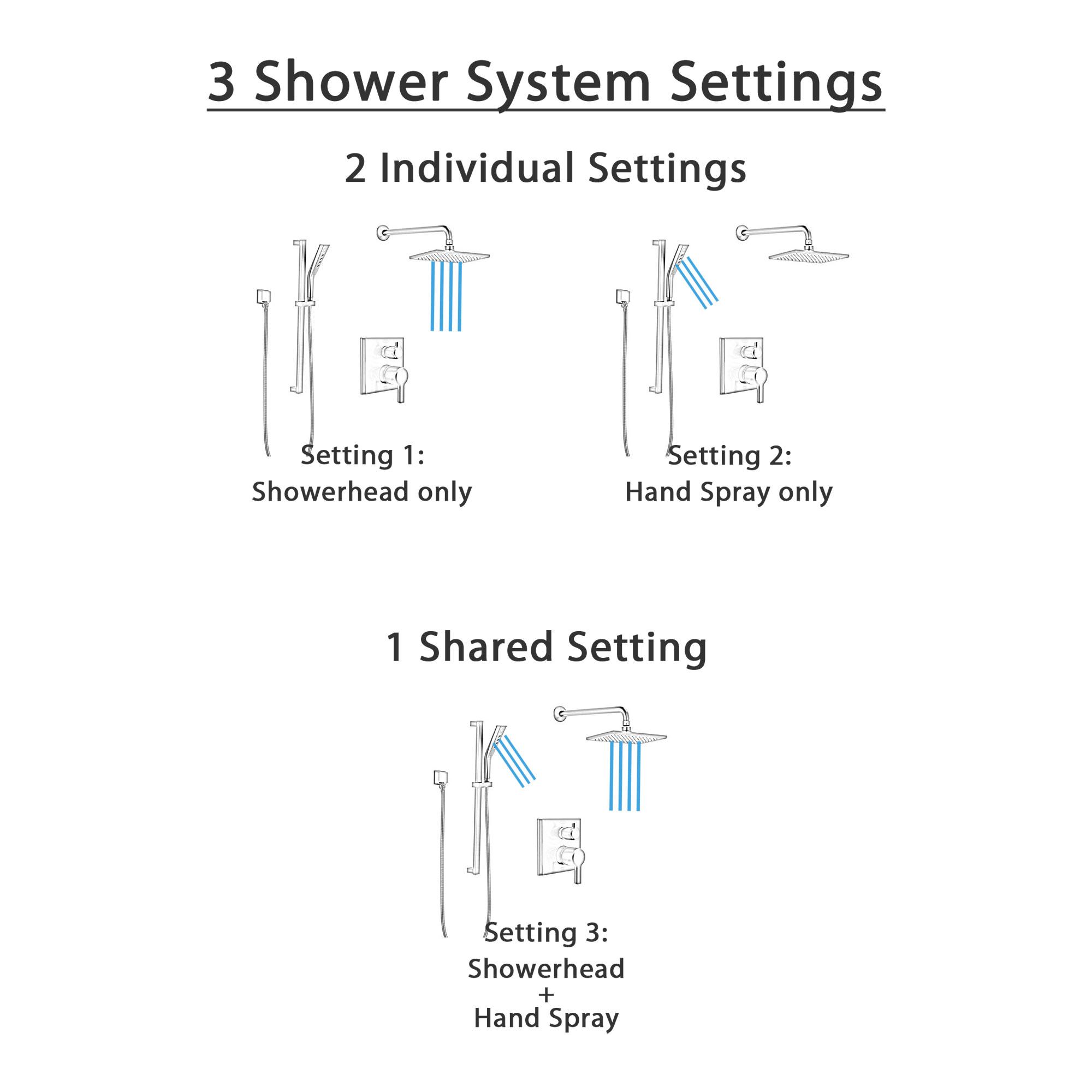 Delta Pivotal Matte Black Finish Shower System with Integrated Diverter, Modern Wall Mount Rain Showerhead, and Hand Sprayer on Slidebar SS24899BL4