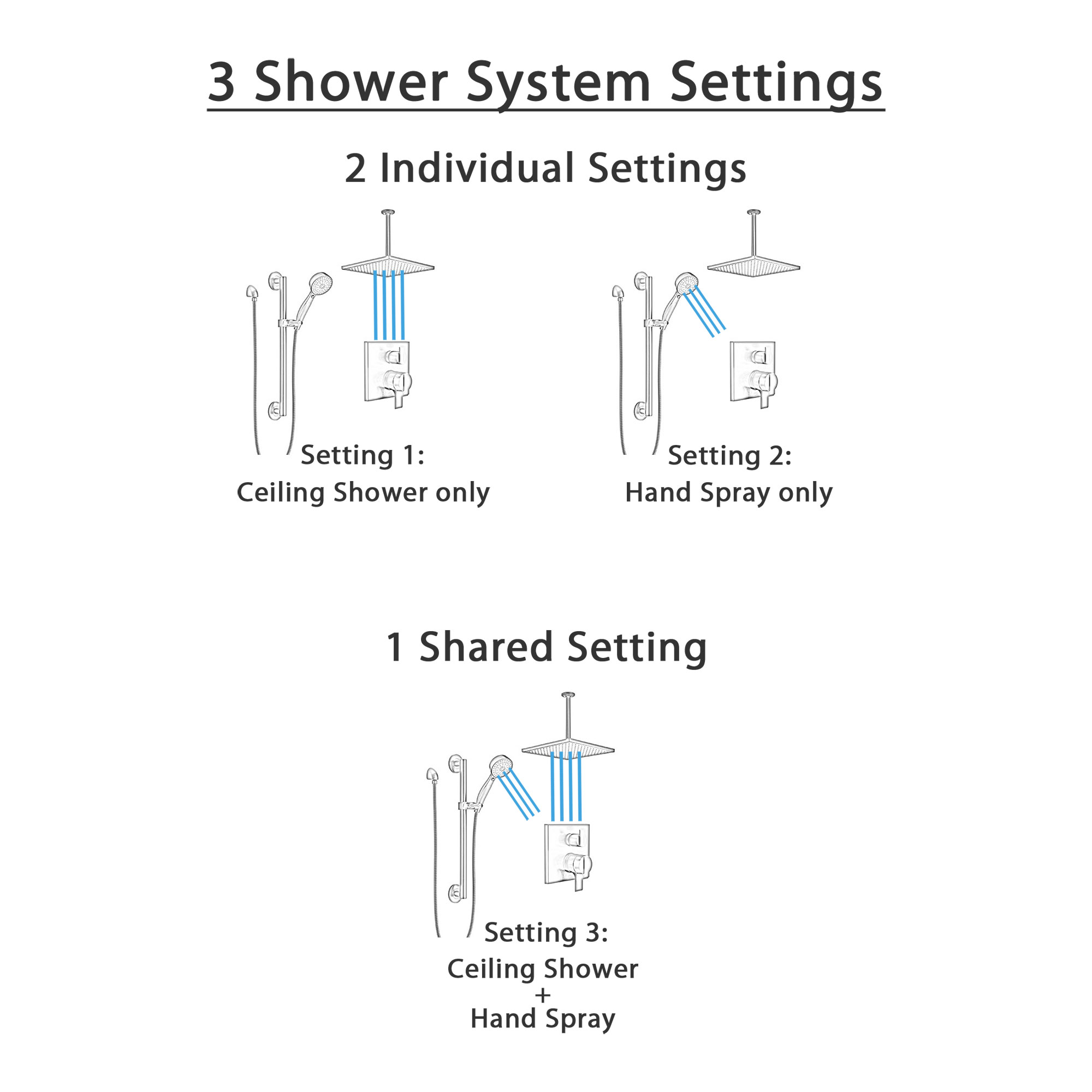 Delta Ara Matte Black Finish Shower System with Integrated Diverter Control, Hand Shower with Grab Bar, and Large Ceiling Mount Showerhead SS27867BL1