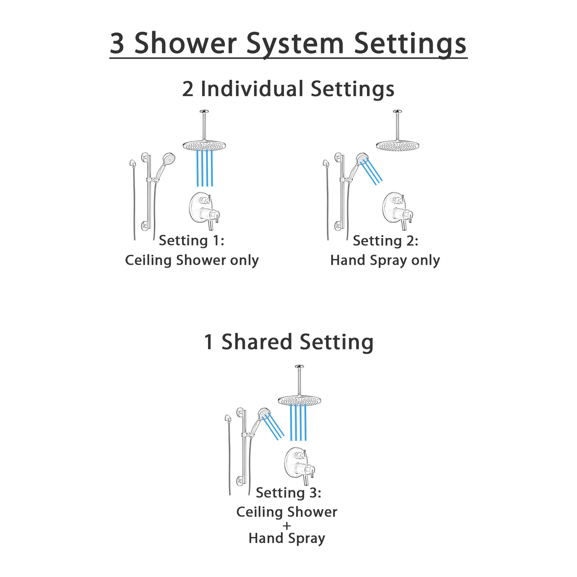 Delta Trinsic Matte Black Thermostatic Integrated Diverter Shower System with Large Round Ceiling Showerhead and Hand Shower with Grab Bar SS27T859BL1