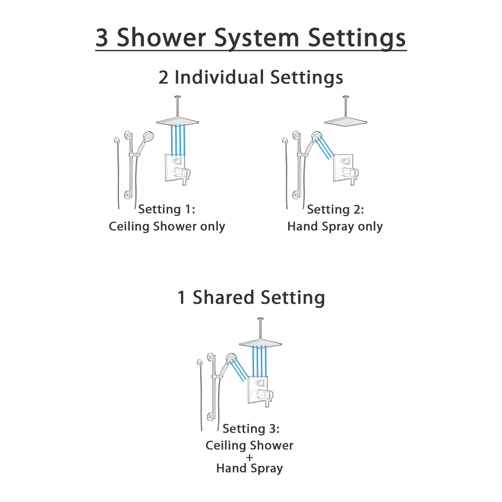 Delta Ara Matte Black Finish Shower System with Integrated Diverter Control, Ceiling Mount Rain Showerhead, and Hand Shower with Grab Bar SS27T867BL1