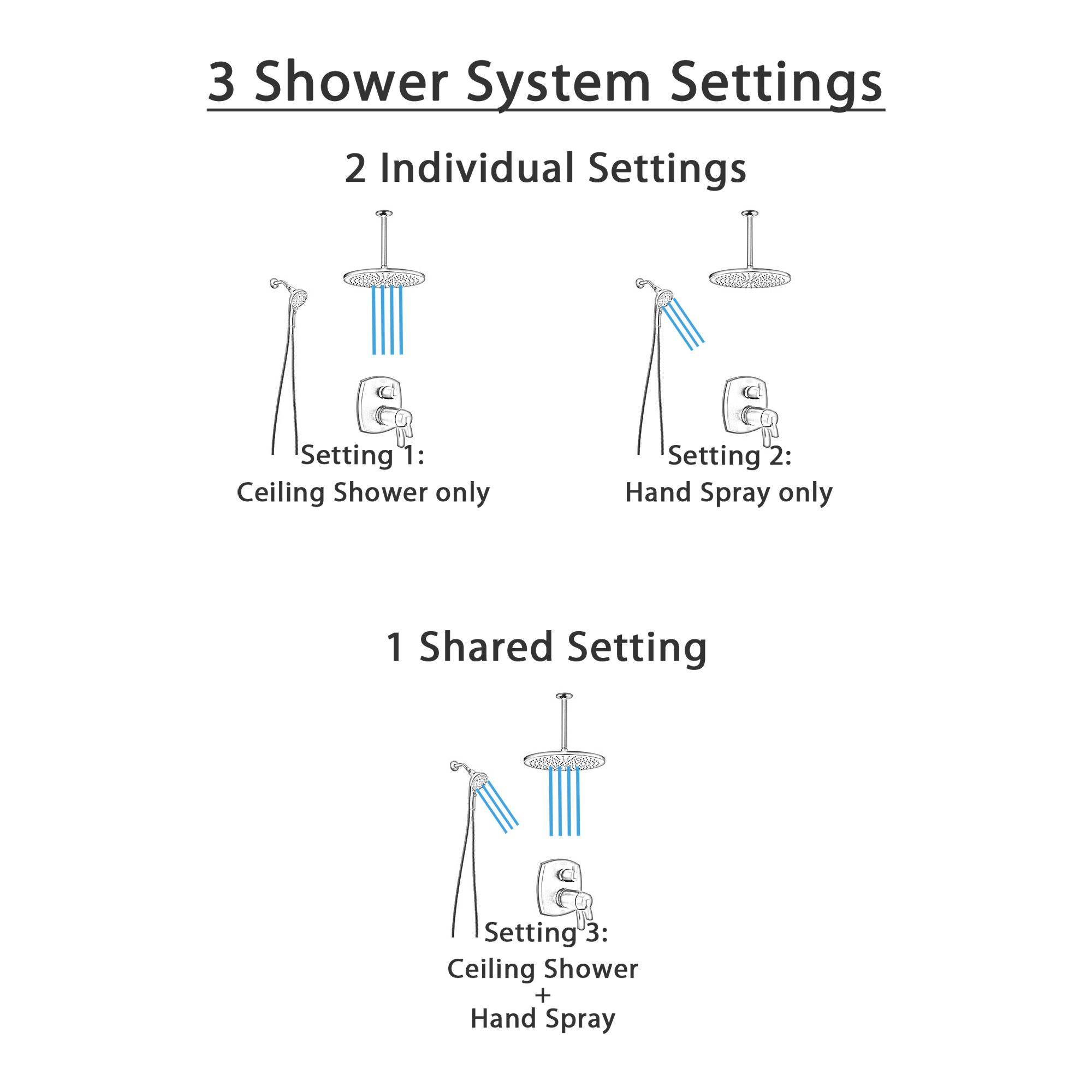 Delta Stryke Matte Black Finish Modern Integrated Diverter Shower System with Large Rain Ceiling Showerhead and SureDock Hand Sprayer SS27T876BLL8
