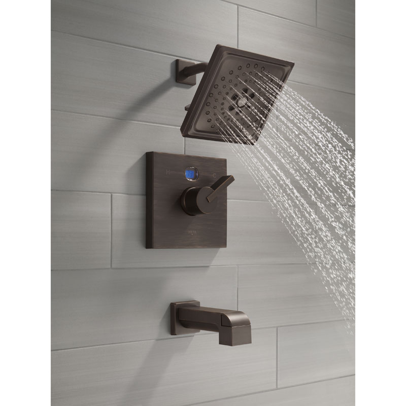 Delta Temp2O Tub and Shower Faucet with Digital Display Blue - Water is Cold