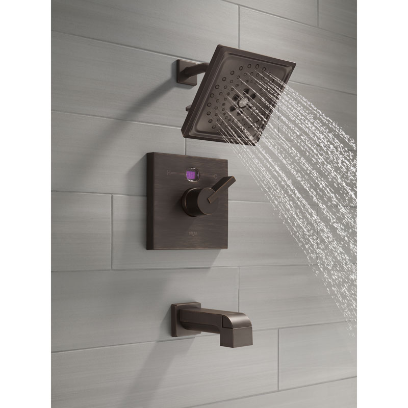 Delta Temp2O Tub and Shower Faucet with Digital Display Magenta - Water is Warm